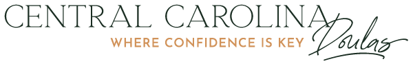 """Central Carolina Doulas primary logo in hunter with the tagline """"where confidence is key"""" in gold"""